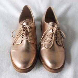 Sole Society Rose Gold Oxfords w/ Cutouts